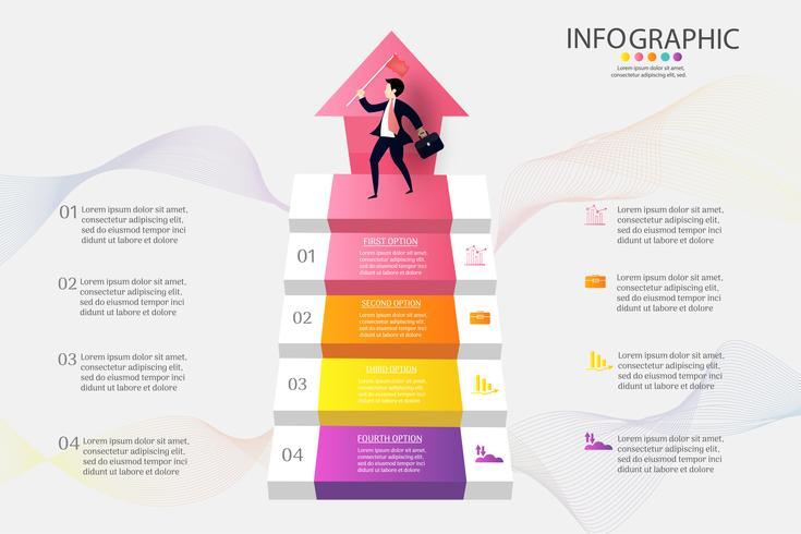 Modello di business design 4 opzioni o passaggi elemento grafico infografica vettore