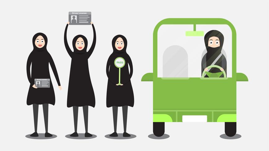 La donna può guidare un'auto in Arabia Saudita sul cloud. L'adulto arabo ottiene una patente di guida. Illustrazione vettoriale di character design in stile piano.