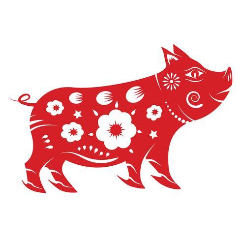 Zodiaco maiale. Concetto cinese di nuovo anno 2019. Tema di paper art e graphic design. vettore