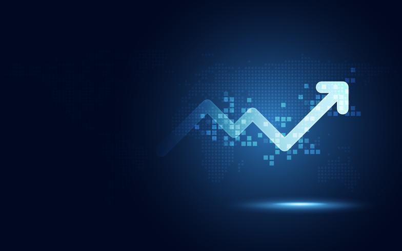 Fondo digitale di tecnologia dell'estratto di trasformazione del grafico della freccia di aumento futuristico. Grandi quantità di dati e crescita del business valuta e economia degli investimenti. Illustrazione vettoriale