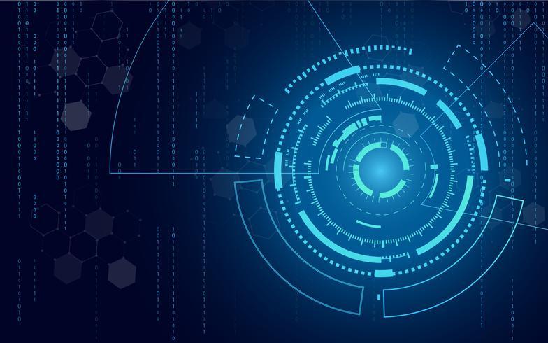 Fondo astratto blu del cerchio e di informatica di tecnologia con la matrice blu e binaria di codice. Affari e connessione. Futuristico e concetto di industria 4.0. Internet cyber e tema di rete. vettore