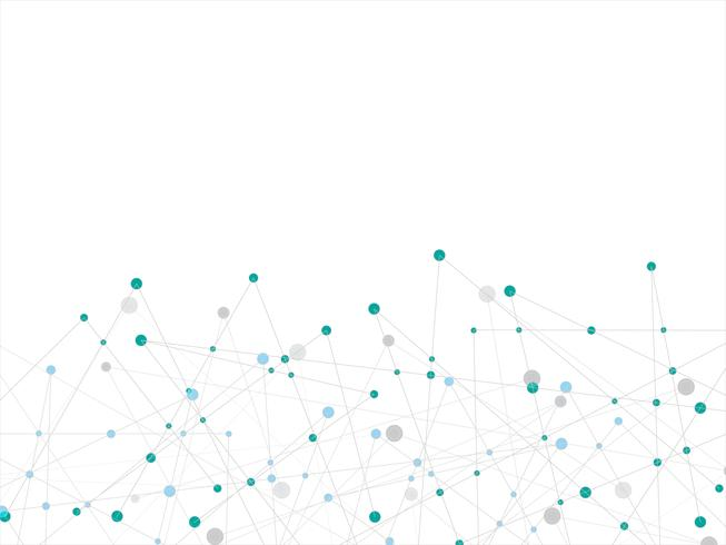 Tecnologia bianca e priorità bassa astratta di scienza con il puntino blu e grigio. Concetto di business e connessione. Futuristico e concetto di industria 4.0. Internet cyber data link e tema di rete. vettore