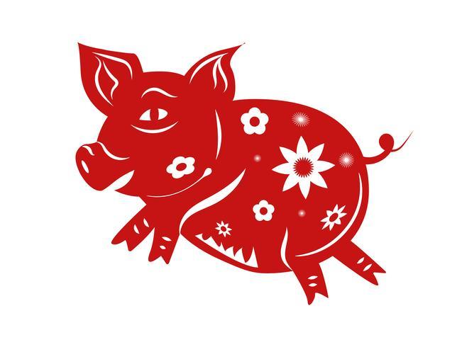Zodiaco maiale. Felice anno nuovo cinese 2019 l'anno del concetto di maiale. Tema di paper art e graphic design. Vettore dell'illustrazione per l'anniversario e la celebrazione della cartolina d'auguri. Trama modello di colore rosso