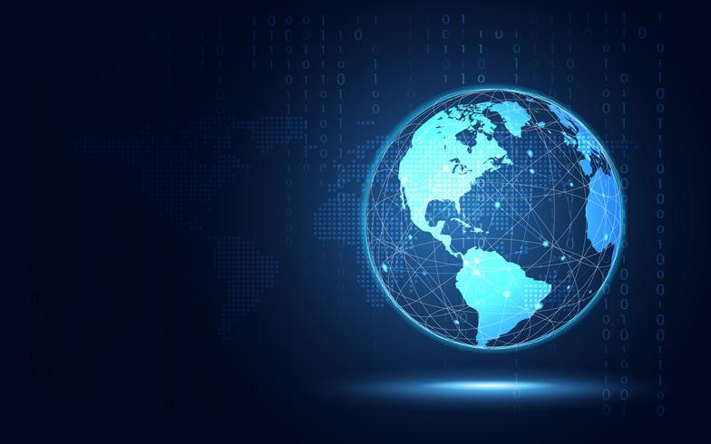 Fondo futuristico di tecnologia dell'estratto della terra blu. Trasformazione digitale di intelligenza artificiale e concetto di big data. Concetto di sicurezza informatica e di investimento di crescita aziendale. Illustrazione vettoriale