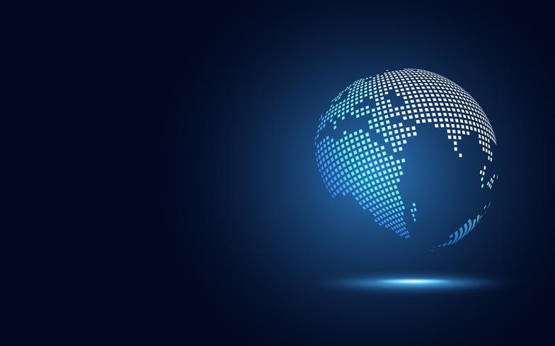 Fondo futuristico di tecnologia dell'estratto di trasformazione del globo futuristico. Big data earth e economia aziendale e degli investimenti. Illustrazione vettoriale