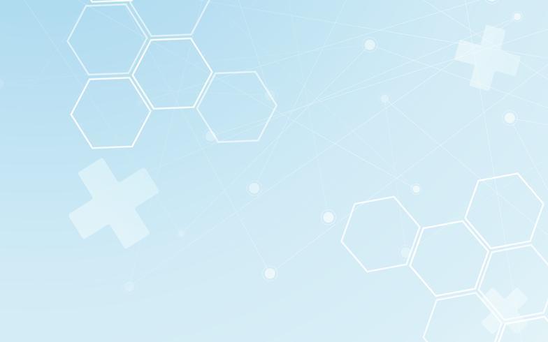 Medico astratto. Elemento di design grafico di poligono e punto linea. Tono blu e bianco per il concetto di copertura futuristica carta da parati moderna scienza. Rete digitale del tema del modello di assistenza sanitaria. vettore