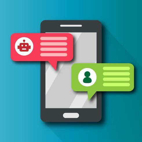 Messaggero di avviso di bolla di notifica di Chatbot con tecnologia di comunicazione utente personale sul telefono cellulare. Concetto di sistema di trasformazione digitale di notifica push. Vettore grafico di design piatto