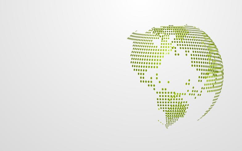 Mappa globale del punto dell'estratto della terra verde di Eco su fondo grigio bianco. Modello di presentazione di carta da parati design moderno. Illustrazione vettoriale. Concetto di giornata della terra. Estratto di tecnologia futuristica vettore