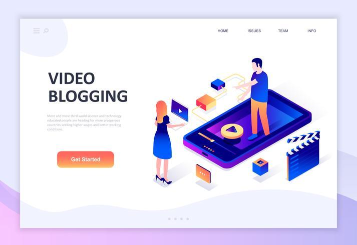 Concetto isometrico moderno design piatto di Video Blogging vettore