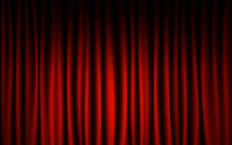 Fondo rosso di manifestazione di concerto della fase della tenda. Concetto di sfondo astratto e sfondo. vettore