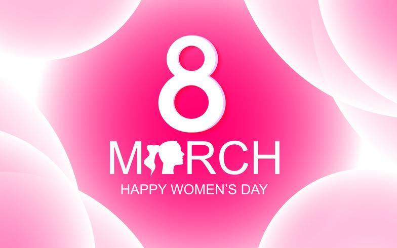 Cartolina d'auguri di felice festa della donna su fondo astratto rosa con testo 8 marzo. Concetto di bellezza e signora Tema del giorno speciale vettore