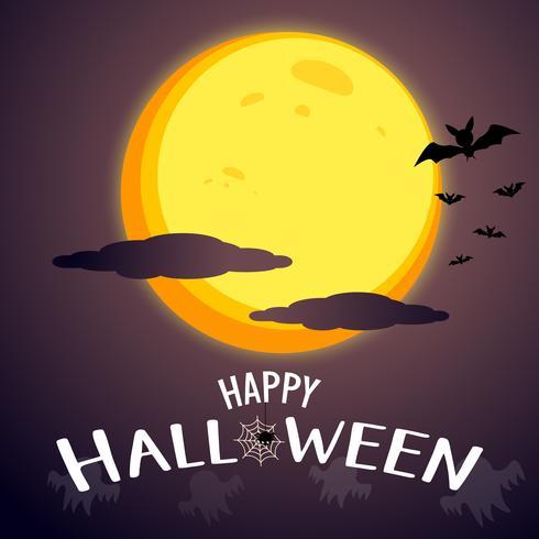 Fondo felice di progettazione grafica del messaggio di Halloween con la luna eccellente e nuvoloso. Concetto horror e infestato. Spaventoso della scena del giorno di Halloween. Silhoulette bats and Ghosts shadow element. Illustrazione vettoriale