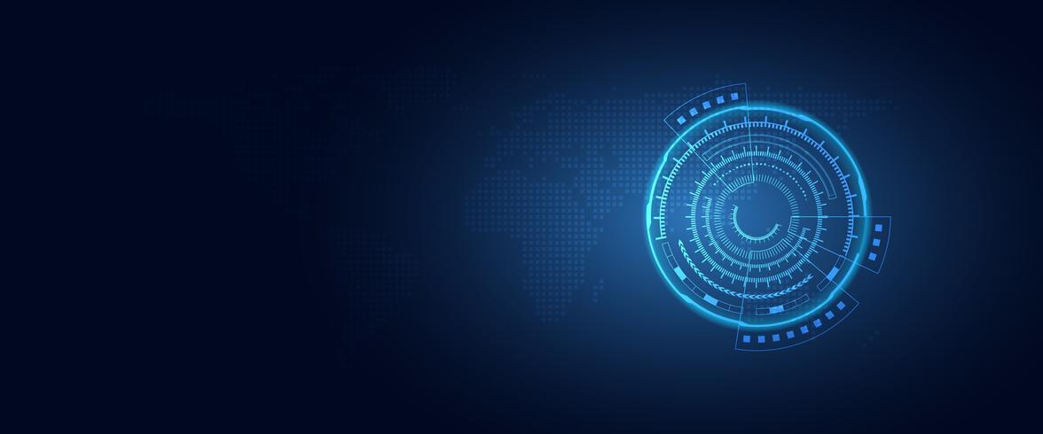 Fondo blu futuristico di tecnologia dell'estratto di trasformazione digitale. Intelligenza artificiale e concetto di big data. Computer di crescita aziendale e hacking tema di sicurezza informatica. Illustrazione vettoriale