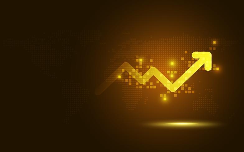 Fondo futuristico di tecnologia dell'estratto di trasformazione del grafico della freccia di aumento dell'oro futuristico. Grandi quantità di dati e crescita della valuta di business e investimento in oro economia futura. Illustrazione vettoriale