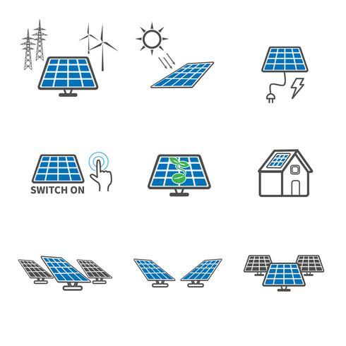 Icone di celle solari. Concetto di energia ed energia. Insieme di raccolta di illustrazione vettoriale. Tema di segno e simbolo. vettore