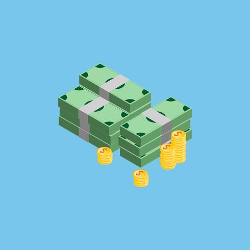 Molti soldi, monete e banconote sui precedenti di colore, vettore