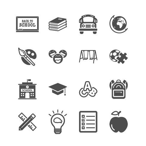 Icone di educazione. Ritorno a scuola e apprendimento del concetto di bambini. Glifi e contorno icone tema di corse. Tema di segno e simbolo. Insieme di raccolta di design grafico illustrazione vettoriale. vettore