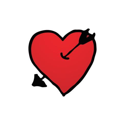 Disegnato a mano del simbolo del cuore rosso con logo freccia in fondo bianco isolato. San Valentino e concetto di luna di miele romantica. Tema del segno di forma cuore rosso. illustrazione vettoriale