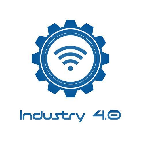 Industria 4.0 in Gear evoluto con Wireless. Concetto di produzione di business e automazione. Controllo Cyber Physical e Feedback. Futuristico del tema della rete di intelligence mondiale. Internet delle cose. vettore