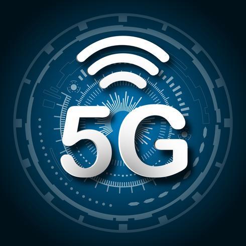 5G cellulare comunicazione mobile blu logo sfondo con trasmissione di collegamento di linea di rete globale. Trasformazione digitale e concetto di tecnologia. Massima connessione ad internet ad alta velocità del dispositivo futuro vettore
