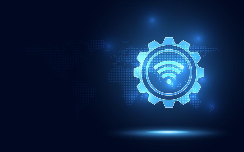Fondo blu futuristico di tecnologia dell'estratto della connessione senza fili. Trasformazione digitale di intelligenza artificiale e concetto di big data. Business quantum concetto di comunicazione di rete internet vettore