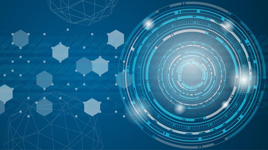 Vettore astratto della priorità bassa di tecnologia. Tema di tono futuristico blu.