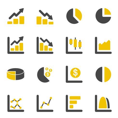 Grafico grafico e icone diagramma. Affari e concetto finanziario. Insieme di raccolta di icone piane. Illustrazione vettoriale