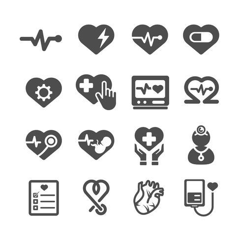 Icone del cuore Concetto medico e sanitario. Glifi e contorno icone tema di corse. Tema di segno e simbolo. Insieme di raccolta di design grafico illustrazione vettoriale