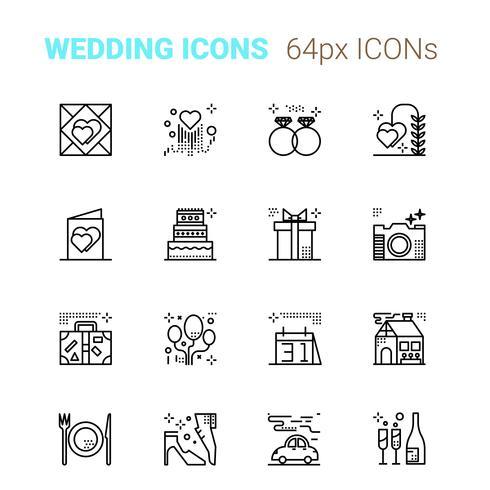 Icone perfette pixel matrimonio vettore