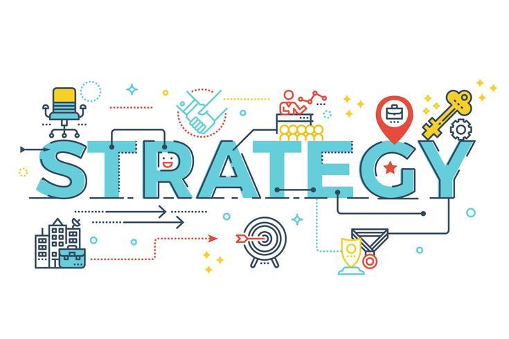 Lettering parola strategia vettore