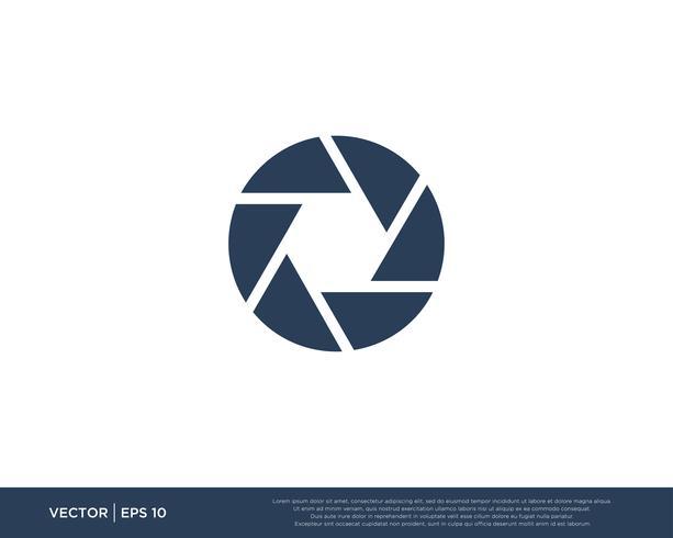 vettore dell'icona logo dell'otturatore della macchina fotografica