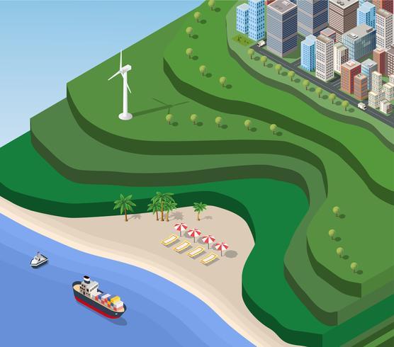 Spiaggia mare isometrica vettore