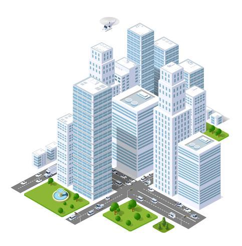Una grande città di isometrica urbana vettore