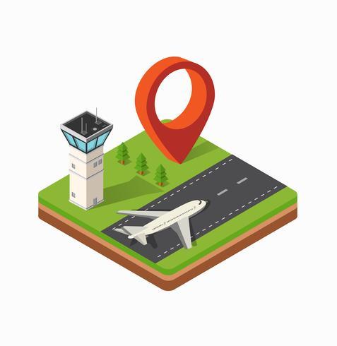 Stampa l'aeroporto della città vettore
