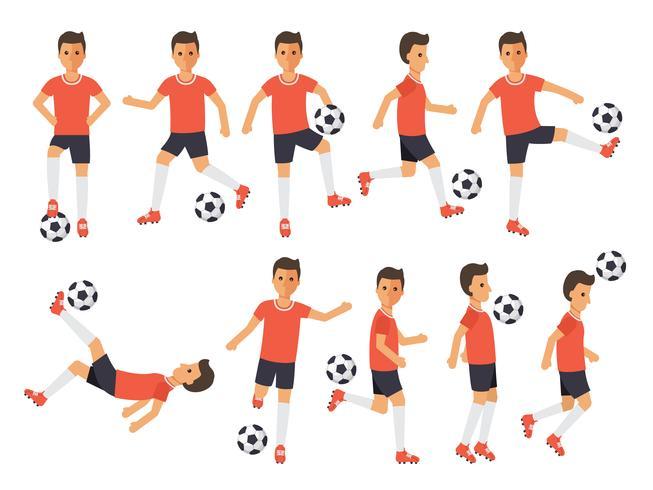 Giocatori di calcio, atleti di calcio in azione. vettore
