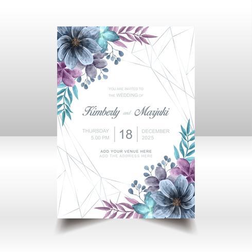 Carta di invito matrimonio elegante con bella acquerello floreale vettore