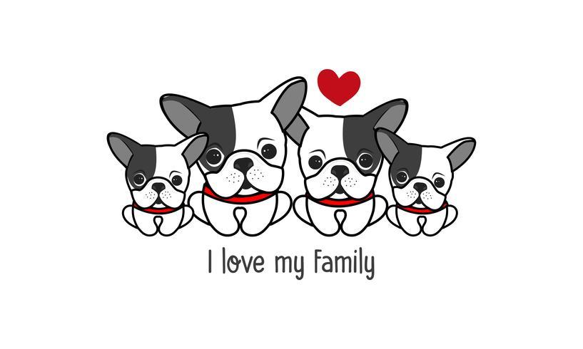 """La simpatica famiglia di cani felice dice """"I love my family"""". vettore"""