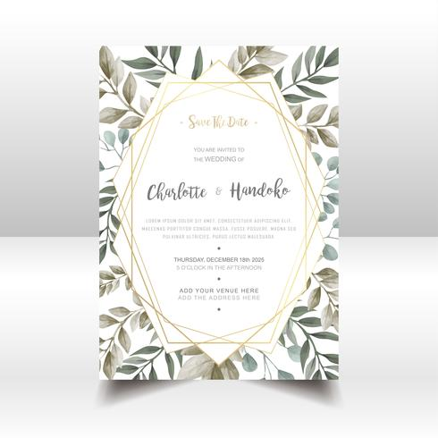 Carta dell'invito di nozze delle foglie dell'acquerello vettore