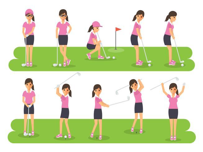 Giocatori di golf, sportivi di golf in azione. vettore
