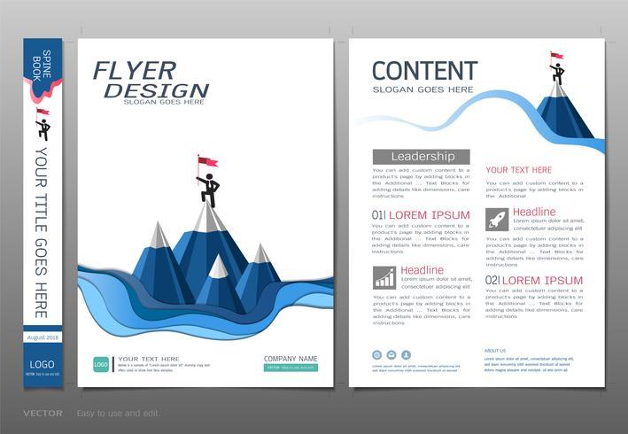 Vettore del modello di progettazione del libro delle coperture, concetto di partenza di affari.