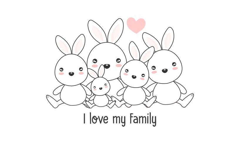 """La simpatica famiglia di lepri felici dice """"I love my family"""". vettore"""