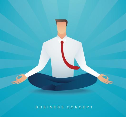 uomo d'affari che si siede nella meditazione di posa del loto. liberare la sua mente vettore