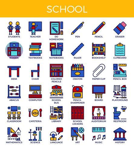 Icone di scuola e istruzione vettore