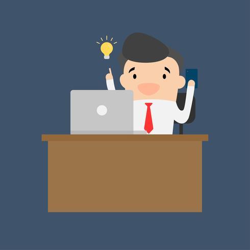 Un uomo che lavora e pensa a un lavoro. L'uomo d'affari ha un'idea. Lavora a casa o in ufficio. vettore
