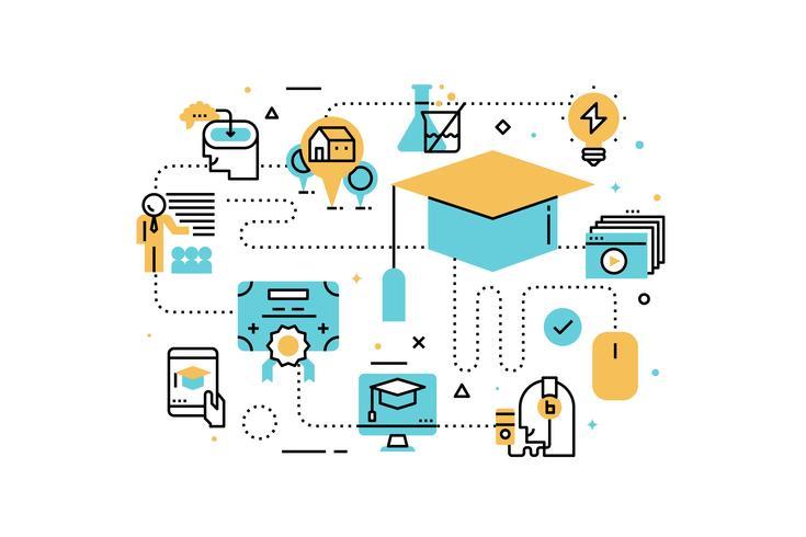 Illustrazione di educazione online vettore