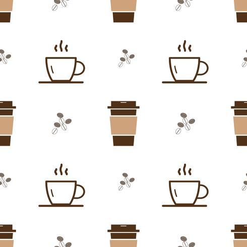 Il modello senza cuciture con l'icona della tazza di caffè del ghiaccio e profila la tazza di caffè calda su un fondo bianco. Vector ripetendo la trama.