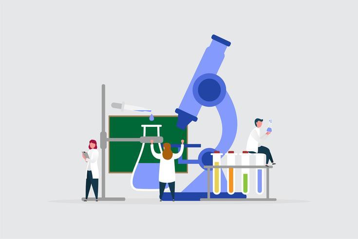 Il giovane scienziato lavora in gruppo per ricercare, concetto dell'illustrazione del fondo. vettore