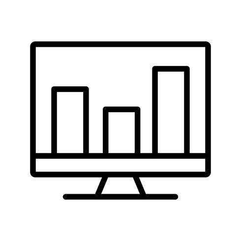 Analitica sullo schermo Icona linea nera vettore