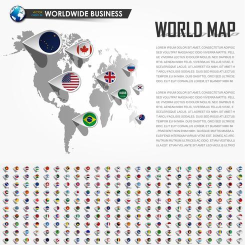Mappa del mondo di prospettiva e perno di posizione del navigatore GPS con tutti gli elementi della bandiera nazionale della terra. Vettore