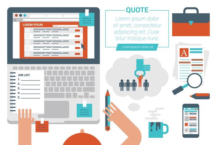 Concetto di ricerca di lavoro online vettore